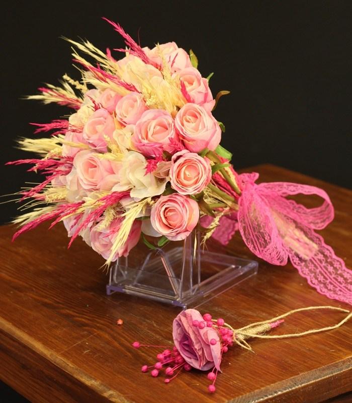 Yapay Pembe Gül Gelin Çiçeği