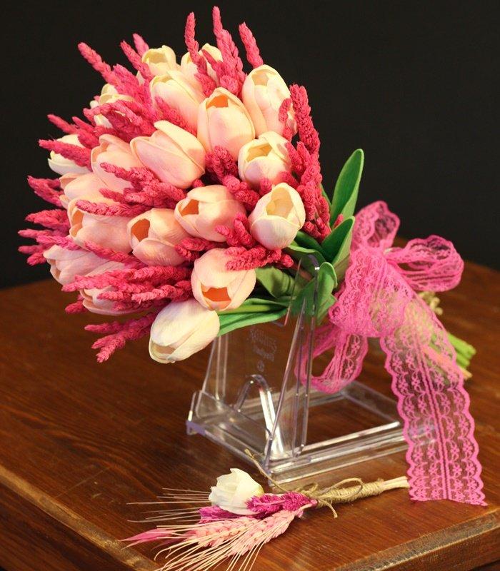 Pembe Lale Pembe Kuru Gelin Çiçeği