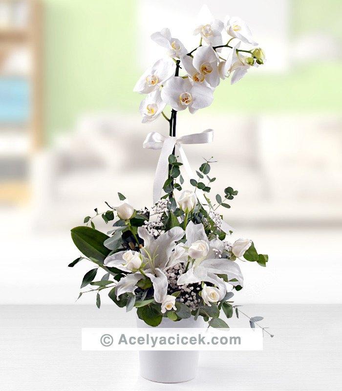 Beyaz Orkide & Gül & Lilyum Aranjmanı